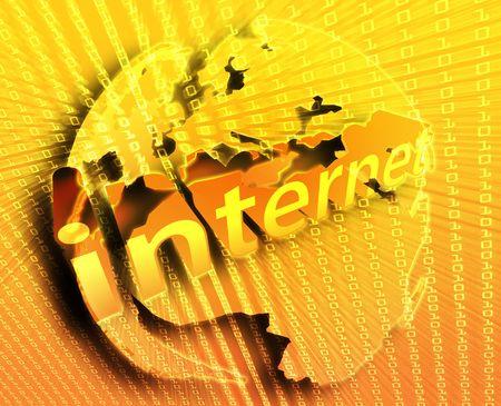 Internet background, on map of Europe illustration Stock Illustration - 6165904