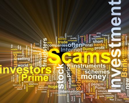 investments: Word cloud concept illustration of  Investment scams glowing light effect  Stock Photo