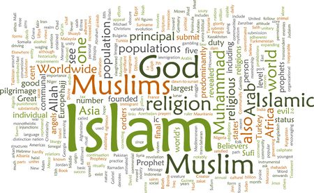 the scriptures: Word cloud concept illustration of  Muslim Islam Stock Photo