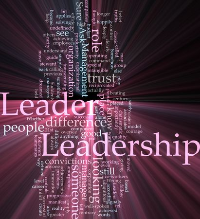 Word cloud concept illustration of leadership management glowing light effect  Stock Illustration - 6164665
