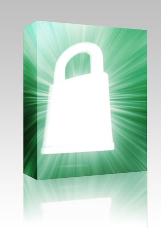 Software package box Security lock concept illustration glowing energy style illustration