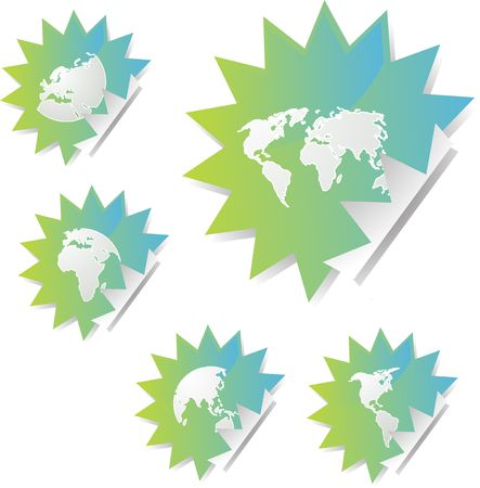 editable eastern asia: World map icons on spiky sticker shapes