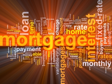 rates: Word cloud concept illustration of  house mortgage glowing light effect