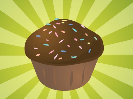 Fancy decorated cupcake muffin illustration clip art illustration