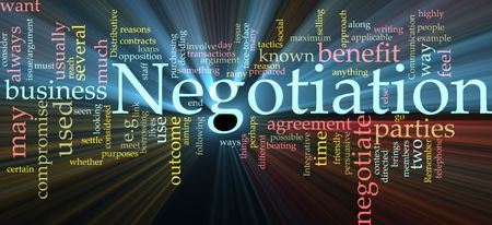 compromise: Word cloud concept illustration of negotiation business glowing light effect