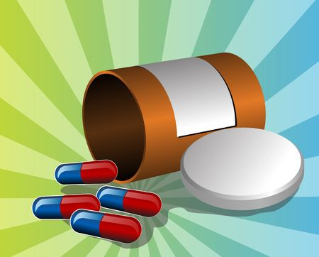 pillbox: Illustration of open pillbox with pills, spilled red and blue capsules