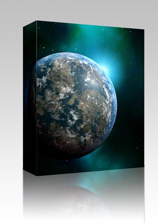 scienceficton: Software package box Illustration of planet earth on colored background