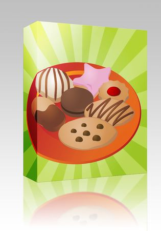 fancy sweet box: Software package box Assorted cookies and fancy sweet biscuits, illustration