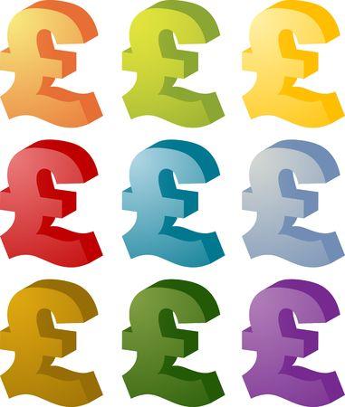 スターリング: ユナイテッド Kingodm 英ポンドの通貨シンボル等尺性 illustrationUnited Kingodm 英ポンドの通貨シンボル アイソメ図