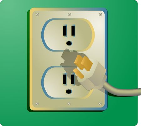 wall plug: Electrical outlet and plug, wall socket US style Stock Photo