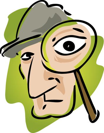 Cartoon illustration of detective with magnifying glass illustration