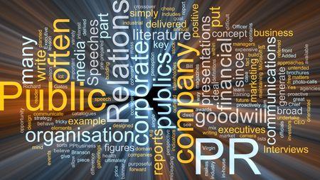 relaciones publicas: Ilustraci�n de concepto de nube de Word de efectos de luz brillante de las relaciones p�blicas