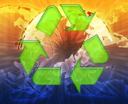 Global recycling eco symbol background concept collage illustration illustration