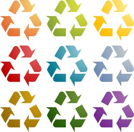 wastage: Recycling eco symbol illustration icon set multiple colors