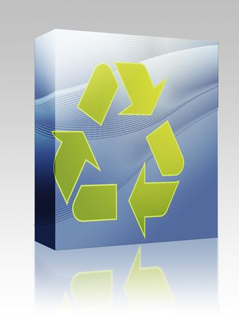 Software package box Recycling eco symbol illustration of three pointing arrows on abstract design illustration
