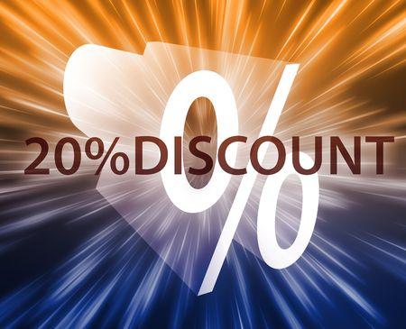 retailing: Twenty percent discount, retail sales promotion announcement illustration