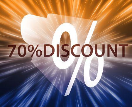 seventy: Il settanta per cento di sconto, illustrazione di annuncio di promozione delle vendite al dettaglio