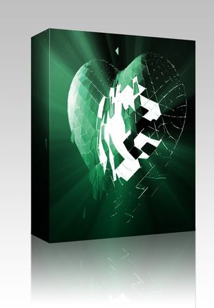 lost love: Software package box Broken shattered heart lost love glowing abstract illustration
