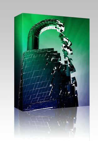 compromised: Software package box Hacking bypass compromised security with broken lock concept illustration