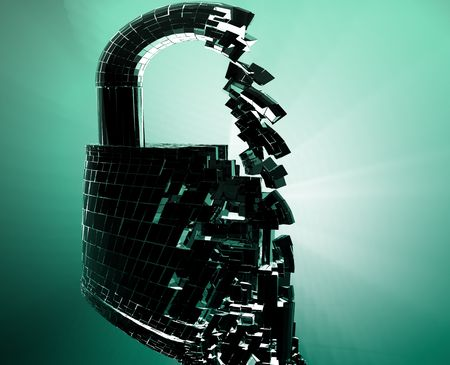 compromised: Hacking bypass compromised security with broken lock  concept illustration