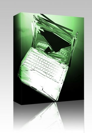 Software package box Computer technology failure with broken notebook concept illustration illustration