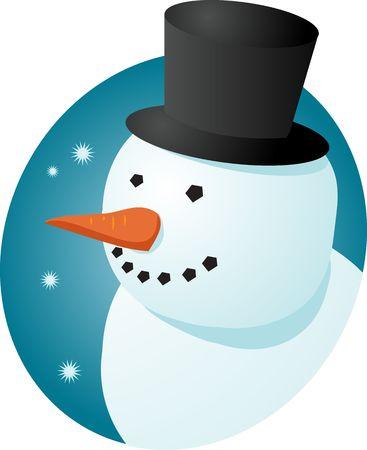 tophat: Pupazzo di neve allegro sorridente in tophat, illustrazione di scena di inverno Archivio Fotografico