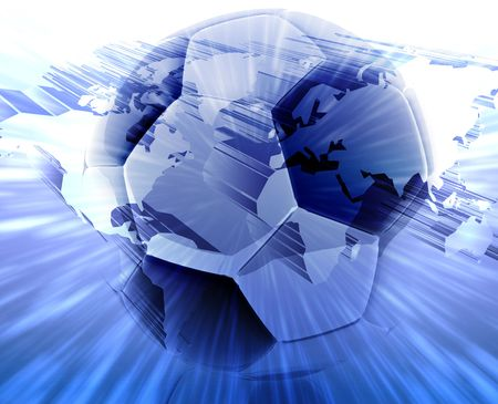 excite: International wordlwide modern soccer ball abstract wallpaper background Stock Photo