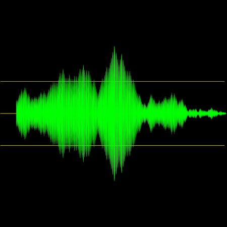 recording: Sound wave measurement audio device output interface screen illustration Stock Photo