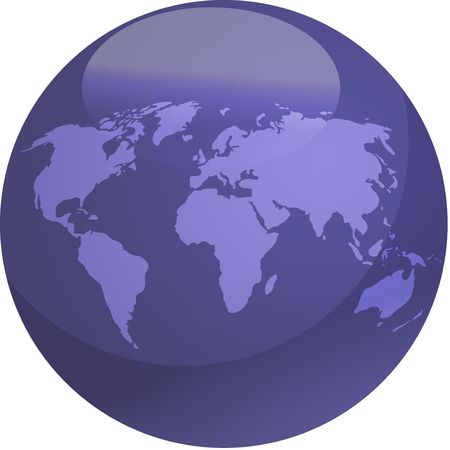 Map of the world in glossy colored sphere photo
