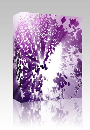 blown: Software package box Abstract background illustration of shattered exploding geometric shapes