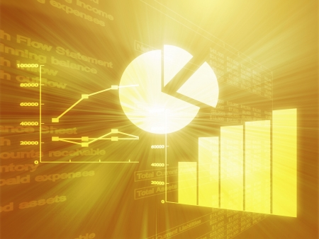 Illustration of Spreadsheet data and business charts in glowing wireframe style illustration