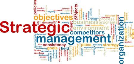 Word cloud tags concept illustration of strategic management illustration