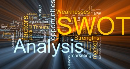 swot analysis: Word cloud concept illustration of SWOT Analysis glowing light effect  Stock Photo