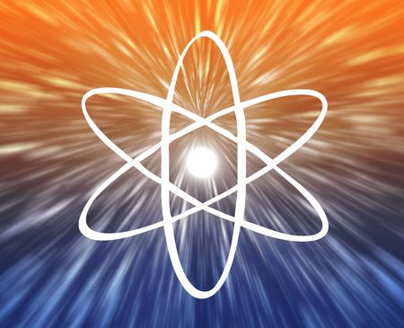 atomic symbol: Atomic nuclear symbol scientific illustration of orbiting atom Stock Photo