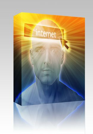 envisioning: Software package box Man thinking about internet clicking,floating over head