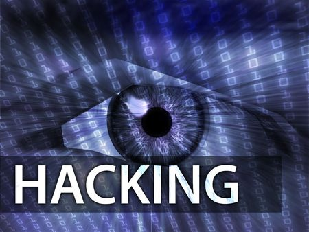 Hacking illustration, eye over digital data information illustration