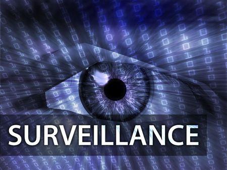Surveillance illustration, eye over digital data information illustration