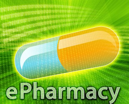 E-medicine, Online medicine, ecommerce health pharmacy illustration Stock Illustration - 6165651