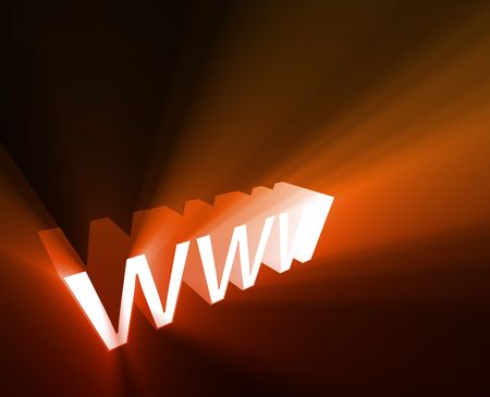 dotcom: WWW internet word graphic, with glowing light effects