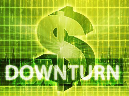 downturn: Downturn Finance illustration, dollar symbol over financial design