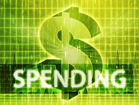 greenbacks: Spending Finance illustration, dollar symbol over financial design
