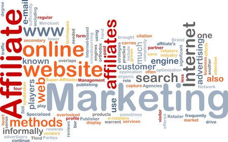 Word cloud concept illustration of affiliate marketing illustration