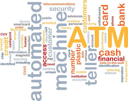 teller: Word cloud concept illustration ATM Automated Teller Machine