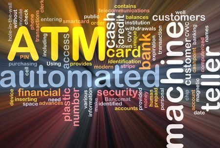 computerized: Software package box Word cloud concept illustration ATM Automated Teller Machine Stock Photo
