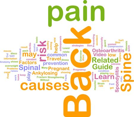 strain: Word cloud concept illustration of  back pain