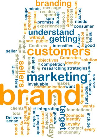 Word cloud tags concept illustration of brand marketing Stock Illustration - 6164972
