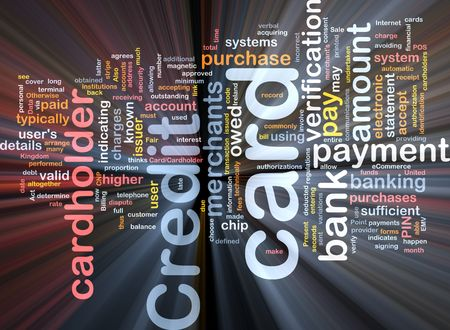purchased: Software package box Word cloud concept illustration of credit card