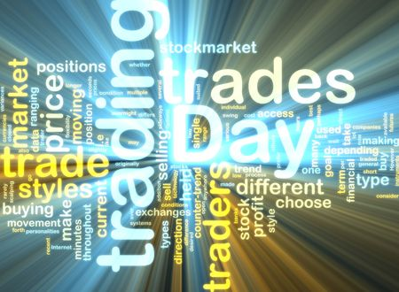 Word cloud tags concept illustration of day trading glowing light effect  illustration