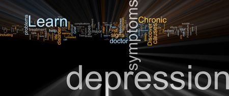 untreated: Word cloud concept illustration of  mental depression glowing light effect