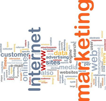 interactions: Word cloud concept illustration of internet marketing